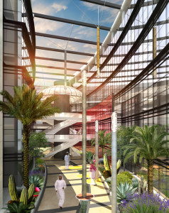 architecture rendering for a lobby with dersert plants